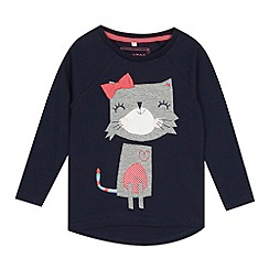 bluezoo - Girls' navy cat long-sleeved top