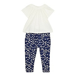 bluezoo - Girls' navy butterfly print harem set