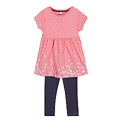 bluezoo - Girls' pink polka dot butterfly print top and navy leggings set