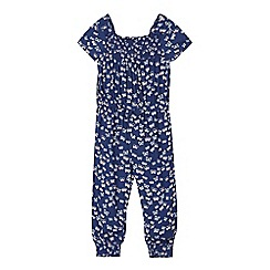 bluezoo - Girls' navy butterfly jumpsuit