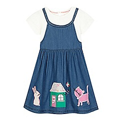 bluezoo - Girls' blue chambray pinafore dress and top set