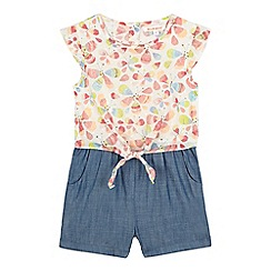 bluezoo - Girls' cream butterfly print chambray playsuit