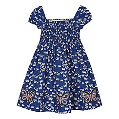 bluezoo - Girls' navy butterfly print dress