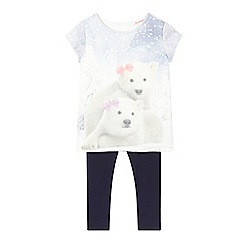 bluezoo - Girls' white polar bear top and navy leggings set