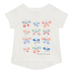 bluezoo - Girls' white glitter butterfly t-shirt