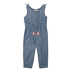 bluezoo - Girls' blue chambray polka dot jumpsuit