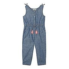 bluezoo - Girls' blue chambray polka dot jumpsuit