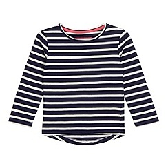 bluezoo - Girls' navy striped print long sleeved top