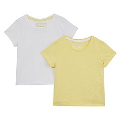 bluezoo - Pack of two girls' white and yellow t-shirts
