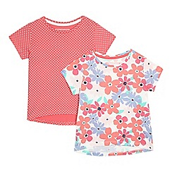 bluezoo - Pack of two girls' pink floral print t-shirts