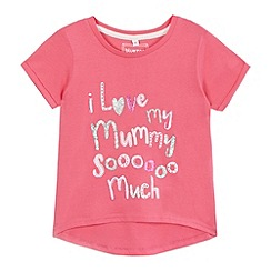 bluezoo - Girls' pink 'I love mummy' slogan print t-shirt