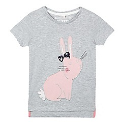bluezoo - Girls' light grey applique bunny t-shirt