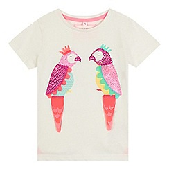 bluezoo - Girls' off white parrot sequin embellished t-shirt