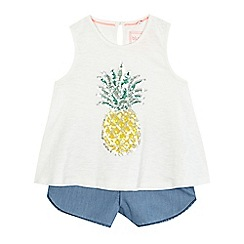 bluezoo - Girls' white sequinned pineapple top and shorts set