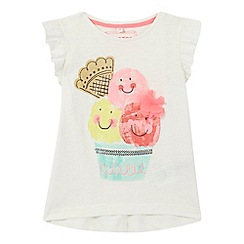 bluezoo - Girls' white ice cream print t-shirt