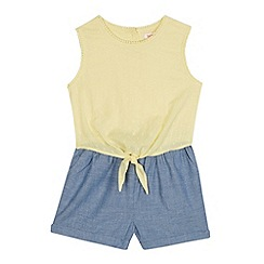 bluezoo - Girls' light yellow textured playsuit