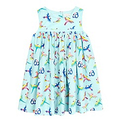bluezoo - Girls' aqua tropical bird print dress