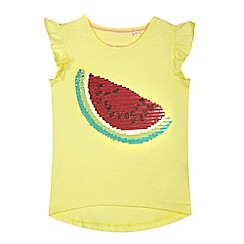 bluezoo - Girls' yellow watermelon placement t-shirt