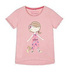 bluezoo - Girls' pink girl applique t-shirt