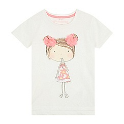 bluezoo - Girls' white applique girl print t-shirt