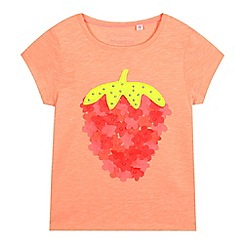 bluezoo - Girls' light orange strawberry applique t-shirt