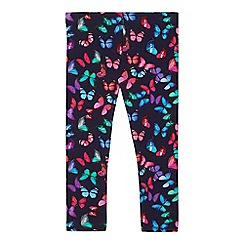bluezoo - Girls' navy butterfly leggings