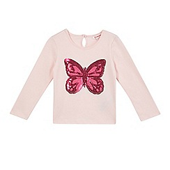 bluezoo - Girls' pink sequinned butterfly top