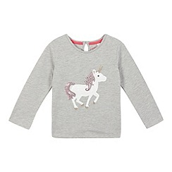 bluezoo - Girls' grey sequin unicorn top