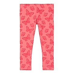 bluezoo - Girls' pink textured butterfly leggings