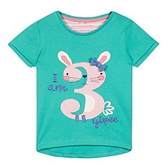 bluezoo - Girls' green 'I am 3' t-shirt