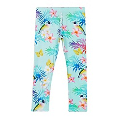 bluezoo - Girls' aqua tropical bird print leggings