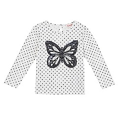 bluezoo - Girls' white polka dot sequinned butterfly top
