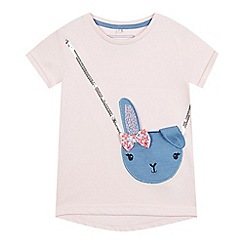 bluezoo - Girls' pink bunny handbag applique t-shirt