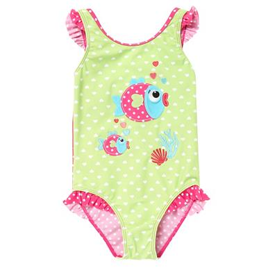 Girl's pink fish applique swimsuit