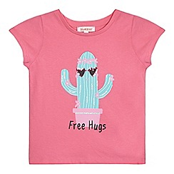 bluezoo - Girls' pink 'Free Hugs' slogan print embellished t-shirt
