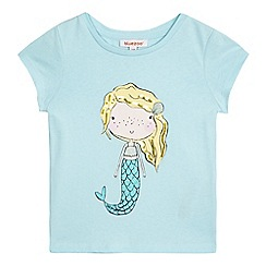 bluezoo - Girls' blue mermaid print t-shirt