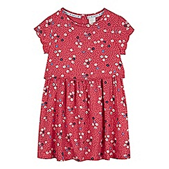 J by Jasper Conran - Girls' dark pink dot and ditsy print layered waist dress