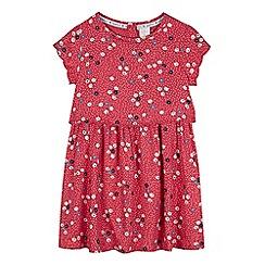 J by Jasper Conran - Girls' dark pink dot and ditsy print layered waist dress