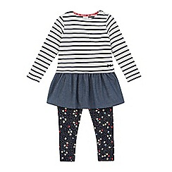 J by Jasper Conran - Girls' white striped dress and navy floral leggings set