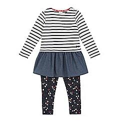 J by Jasper Conran - Girls' white striped dress and navy floral leggings set