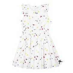 J by Jasper Conran - Girls' white bee and dot print dress