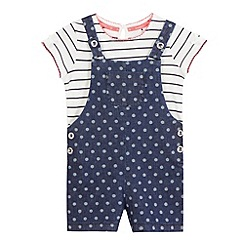 J by Jasper Conran - Girls' navy and white t-shirt and dungarees set