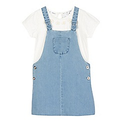 J by Jasper Conran - Girls' blue chambray pinafore and floral top set