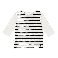 J by Jasper Conran - Girls' white scalloped stripe top