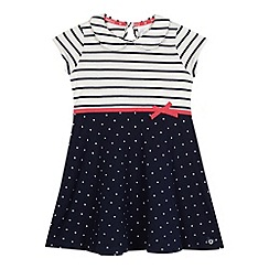 J by Jasper Conran - Girls' navy striped spotted dress