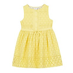 J by Jasper Conran - Girls' yellow Broderie Anglaise dress