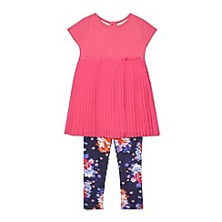 RJR.John Rocha - Girls' pink pleated dress and navy floral leggings set