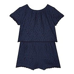 RJR.John Rocha - Girls' navy two piece lace playsuit