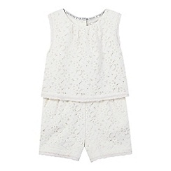 RJR.John Rocha - Girls' cream lace layered waist playsuit