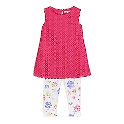 RJR.John Rocha - Girls' pink cutout dress and white floral print leggings set